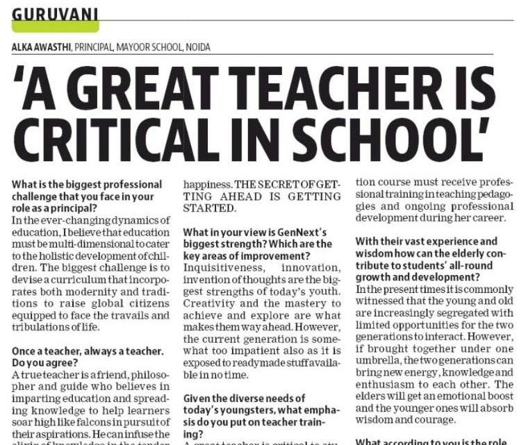 GURUVANI: Principal Ms. Alka Awasthi's Interview in The Hindustan Times